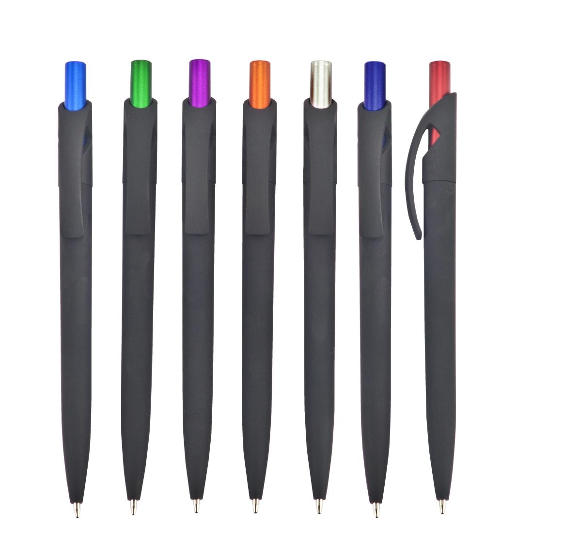 עט ג'ל, גוף פלסטיק, גימור גומי, לחצן מטלי צבעוני - לואיז בלק
