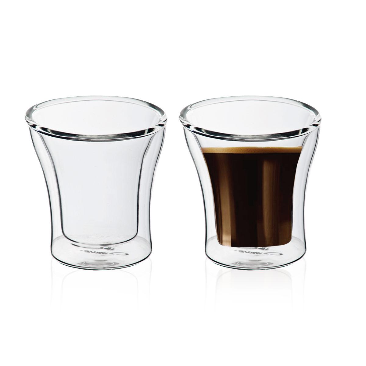 """זוג כוסות זכוכית עם דופן כפולה 100 מ""""ל - פרו"""