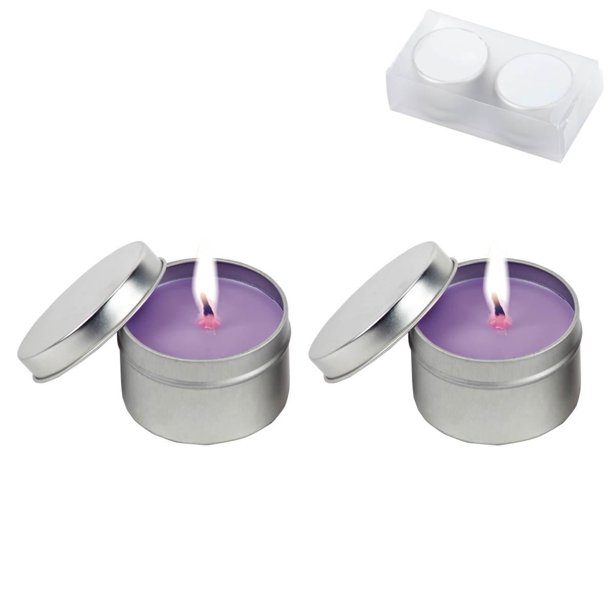 זוג נרות ריחניים בקופסת פח - סנדאי