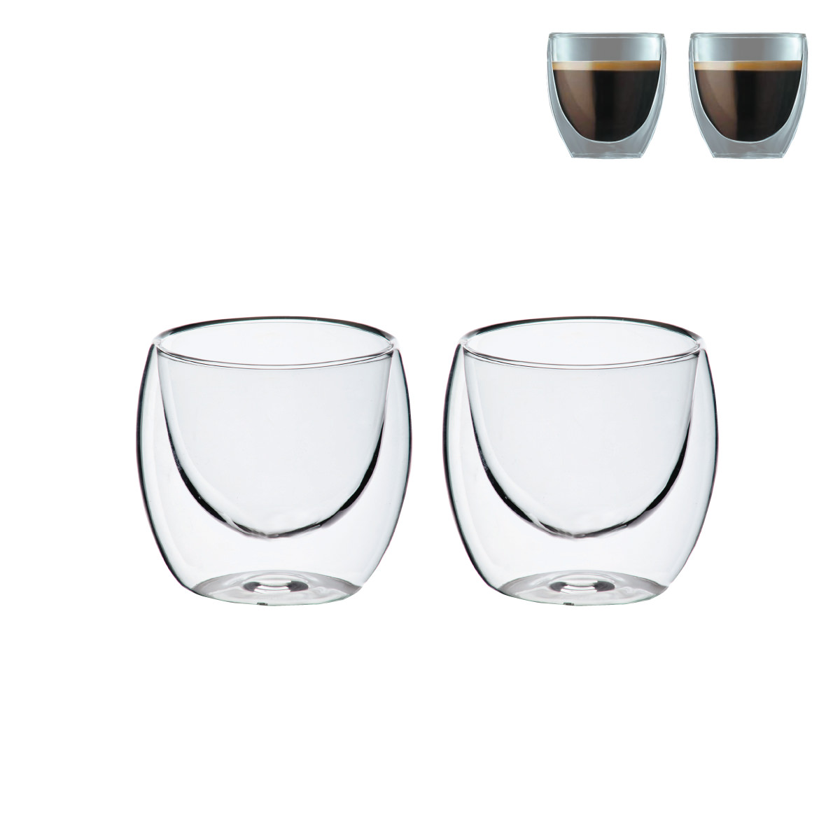 """זוג כוסות זכוכית דופן כפולה 150 מ""""ל - ברזיל"""