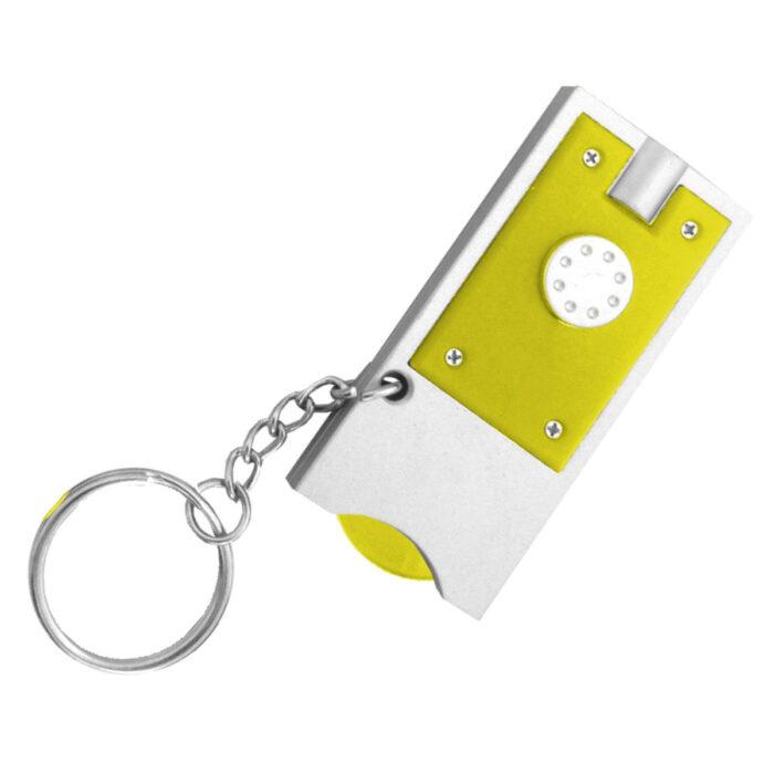 מחזיק מפתחות פנס עם מטבע לשחרור עגלות סופר – מאו