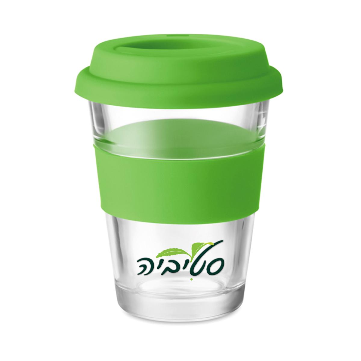 כוס שתיה מזכוכית עם מכסה סיליקון וחבק בצבע תואם - אקו