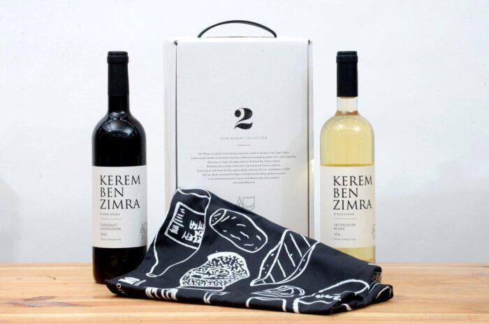 מארז שי זוג בקבוקי יין וסינר מעוצב לראש השנה - לחיים