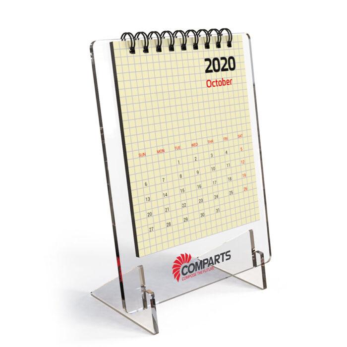 לוח שנה שולחני ממותג ספירלה על פלסטיק אקרילי - טייני