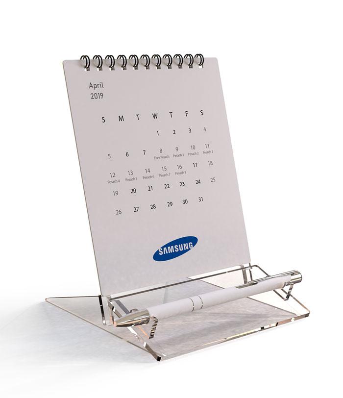 לוח שנה שולחני ממותג - Clear