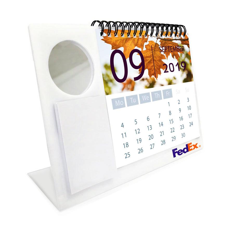 לוח שנה שולחני ממותג עם מראה עגולה ודפי ממו