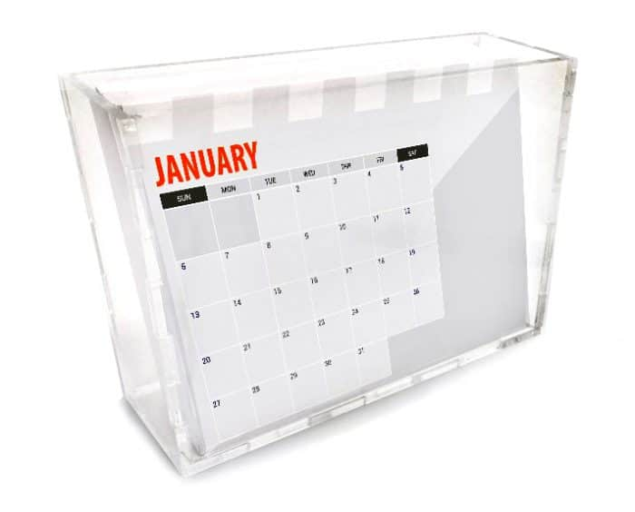 לוח שנה שולחני ממותג - בוקס