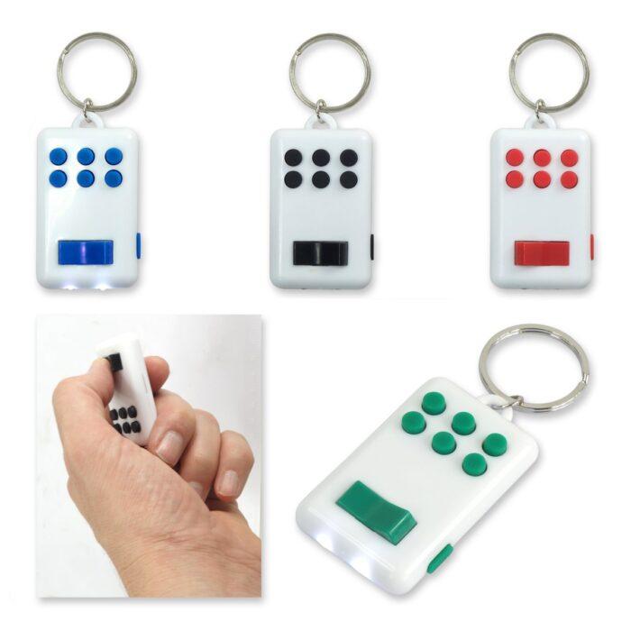 מחזיק מפתחות פידג'ט הכולל פנס 2 לדים ולחצנים למשחק ולהפגת לחץ