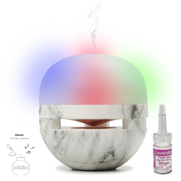 רמקול בלוטות' ממותג משולב מפיץ ריח חשמלי ותאורת אווירה - רילקס