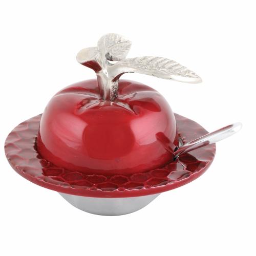 כלי מהודר לדבש בצורת תפוח או רימון בצבעי זהב או אדום
