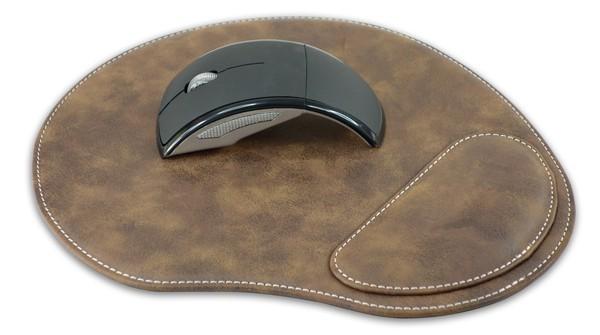 משטח עכבר דמוי עור עם כרית יד ארגונומית