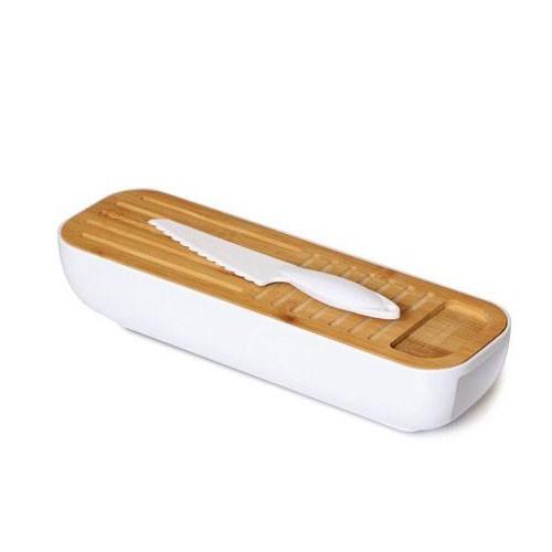 קופסת אחסון והגשה לעוגות/לחמים עם קרש חיתוך מבמבוק וסכין משוננת מפלסטיק