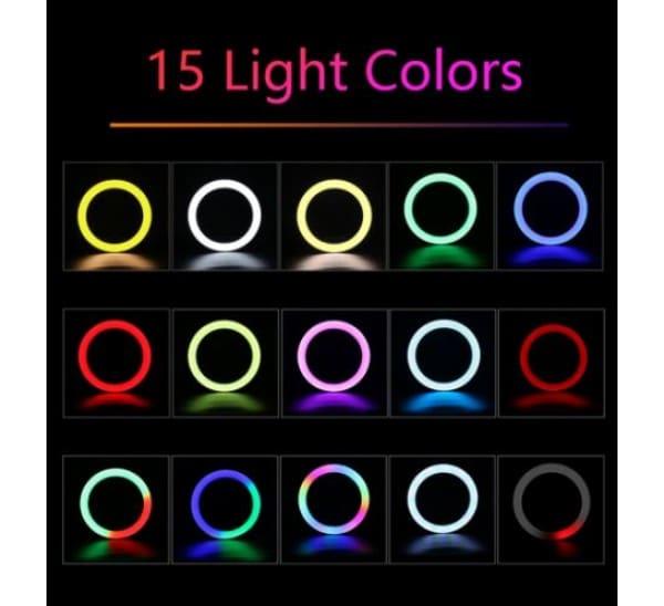 טבעת תאורה RGB צבעונית עם חצובה