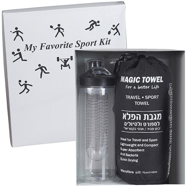 בקבוק ספורט ומגבת ספורט במארז מתנה