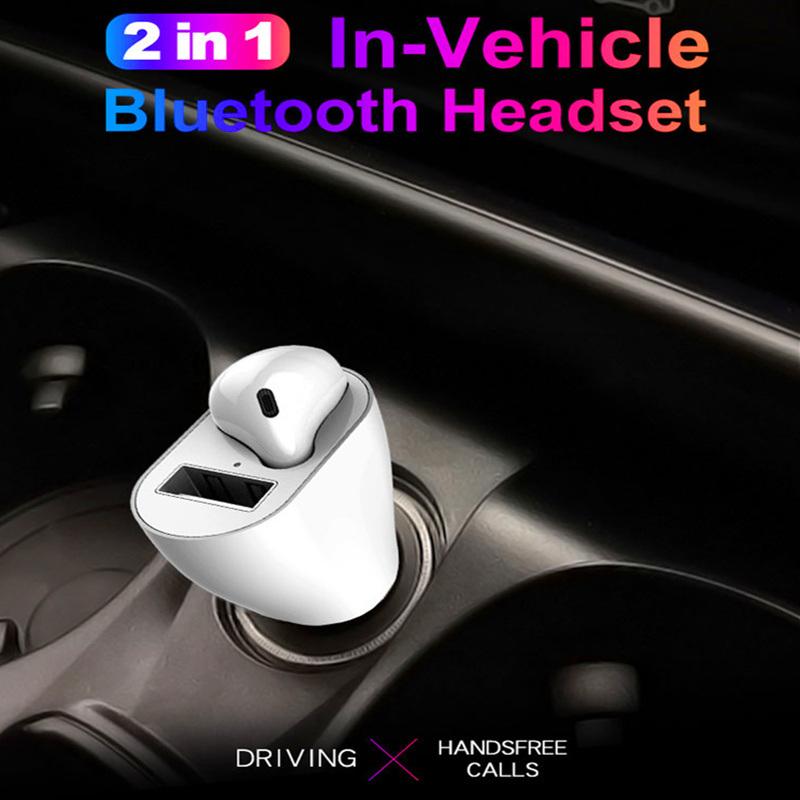 מטען לטלפון ברכב משולב עם אוזניית BLUETOOTH