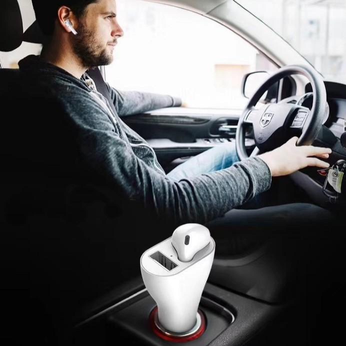 מטען לטלפון ברכב משולב עם אוזניית BLUETOOTH - פריהנד