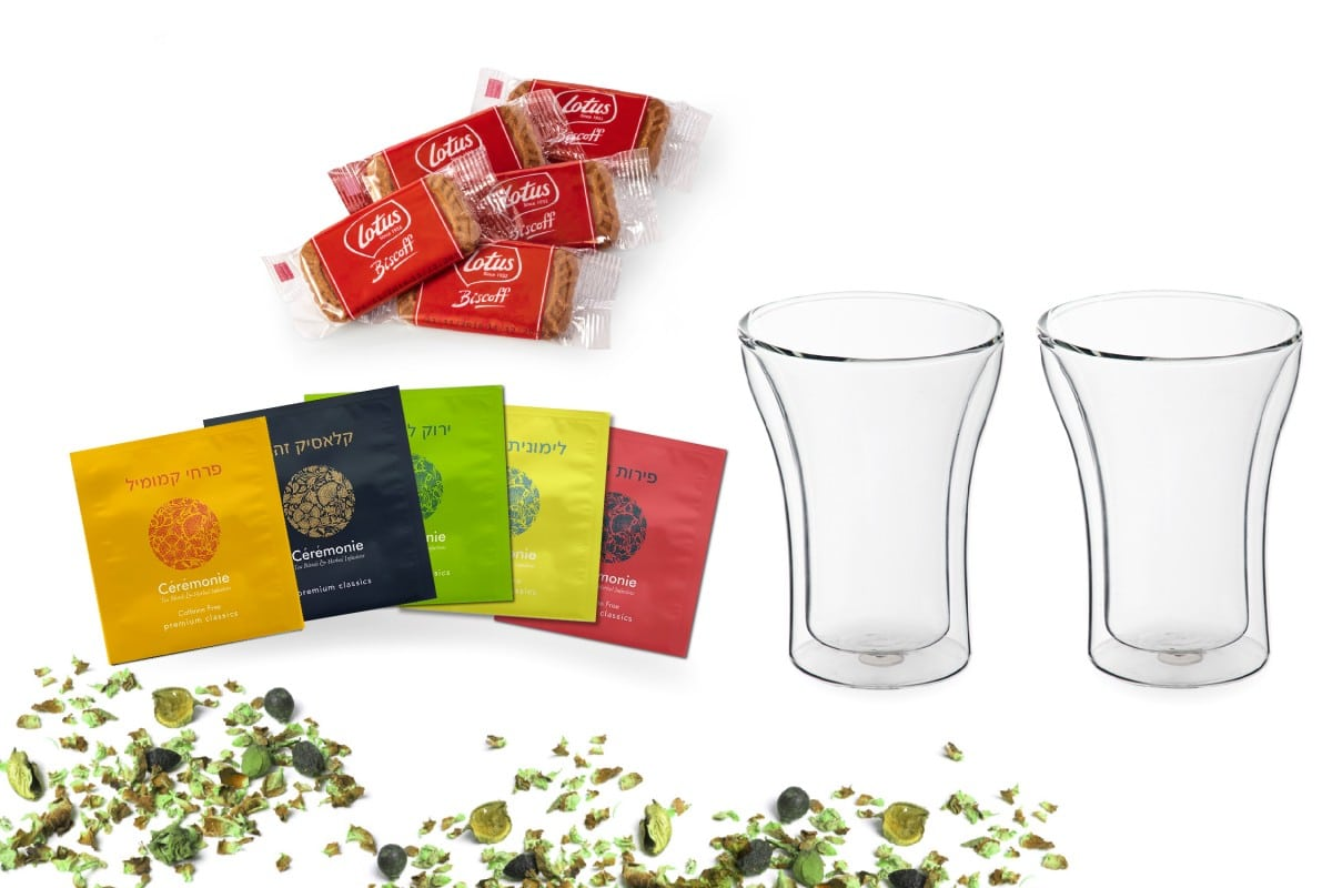 מארז תה עם כוסות זכוכית - גלאס
