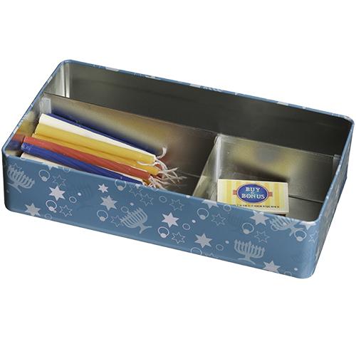 קופסת פח חנוכייה מהודרת - בלו חנוכה