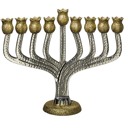 חנוכיית אלומיניום עם זהב ונצנצים - רימונים