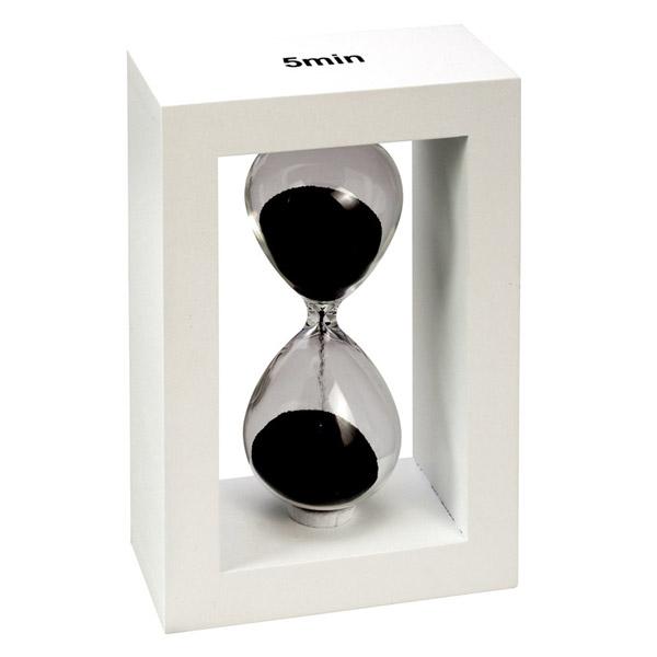 שעון חול 5 דקות במסגרת עץ לבנה מהודרת