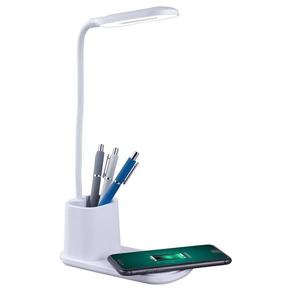 מנורת לד שולחנית משולבת עם מטען אלחוטי וכוס לעטים