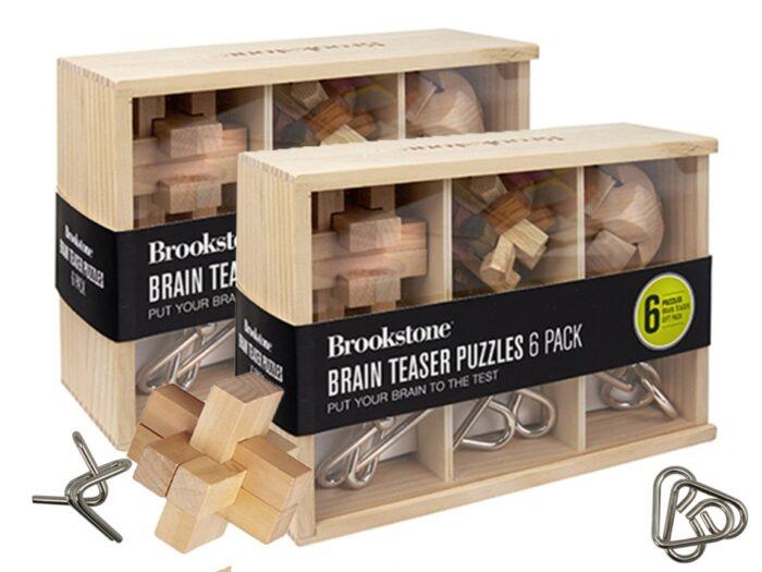 מארז 6 משחקי חשיבה מעץ ומתכת