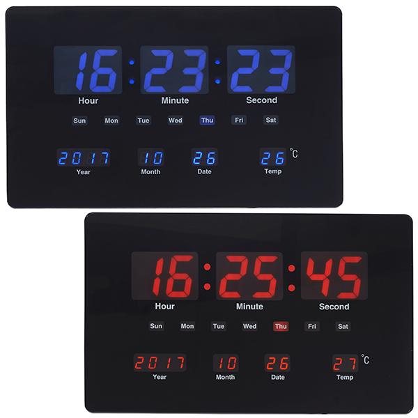 שעון קיר LED דיגיטלי עם תאריך וטמפרטורה