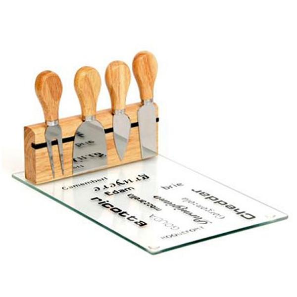סט ארבע סכינים לחיתוך גבינות על משטח זכוכית בשילוב עץ