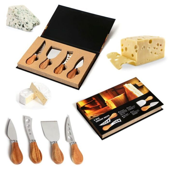 סט ארבע סכינים לחיתוך גבינות במארז מעוצב בצורת ספר