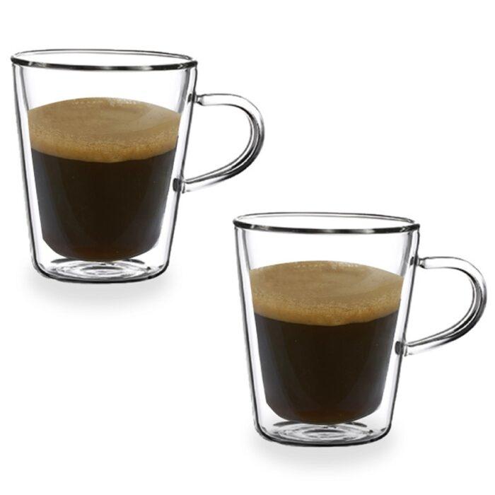 """זוג כוסות זכוכית 150 מ""""ל עם דופן כפולה וידית – הונדורס"""
