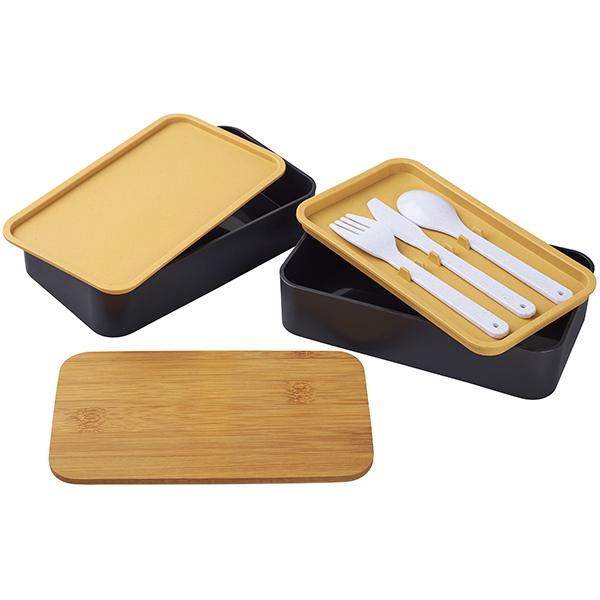 """קופסת אוכל כפולה עם מכסה במבוק ומגש סכו""""ם"""