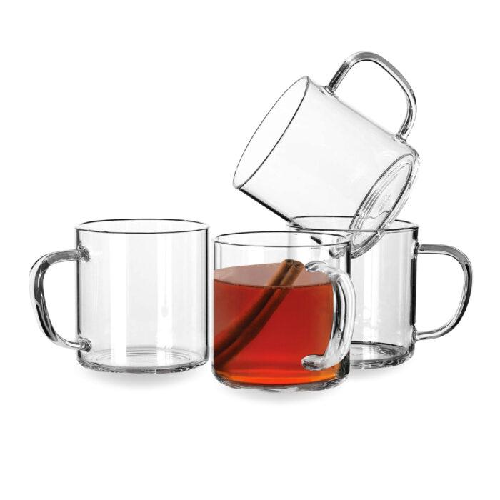 """כוס זכוכית 350 מ""""ל עם ידית – יסמין"""