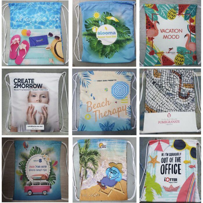 תיק גב שרוכים עם הדפסה צבעונית מלאה - דוגמאות לעיצובים