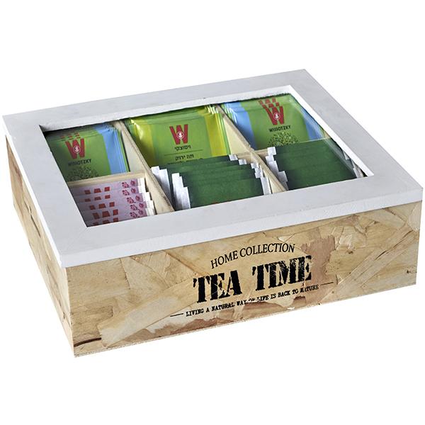 קופסה מהודרת לתה מעץ טבעי - 6 תאים