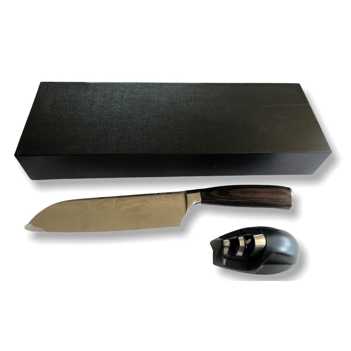 סכין ומשחזת במארז מתנה - סנטוקו