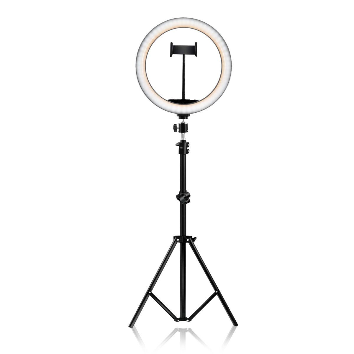 """חצובה רצפתית טלסקופית עם רינג תאורה 26 ס""""מ"""