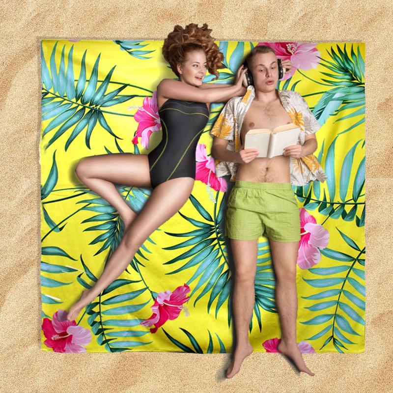 מגבת חוף זוגית עם הדפסה צבעונית מלאה