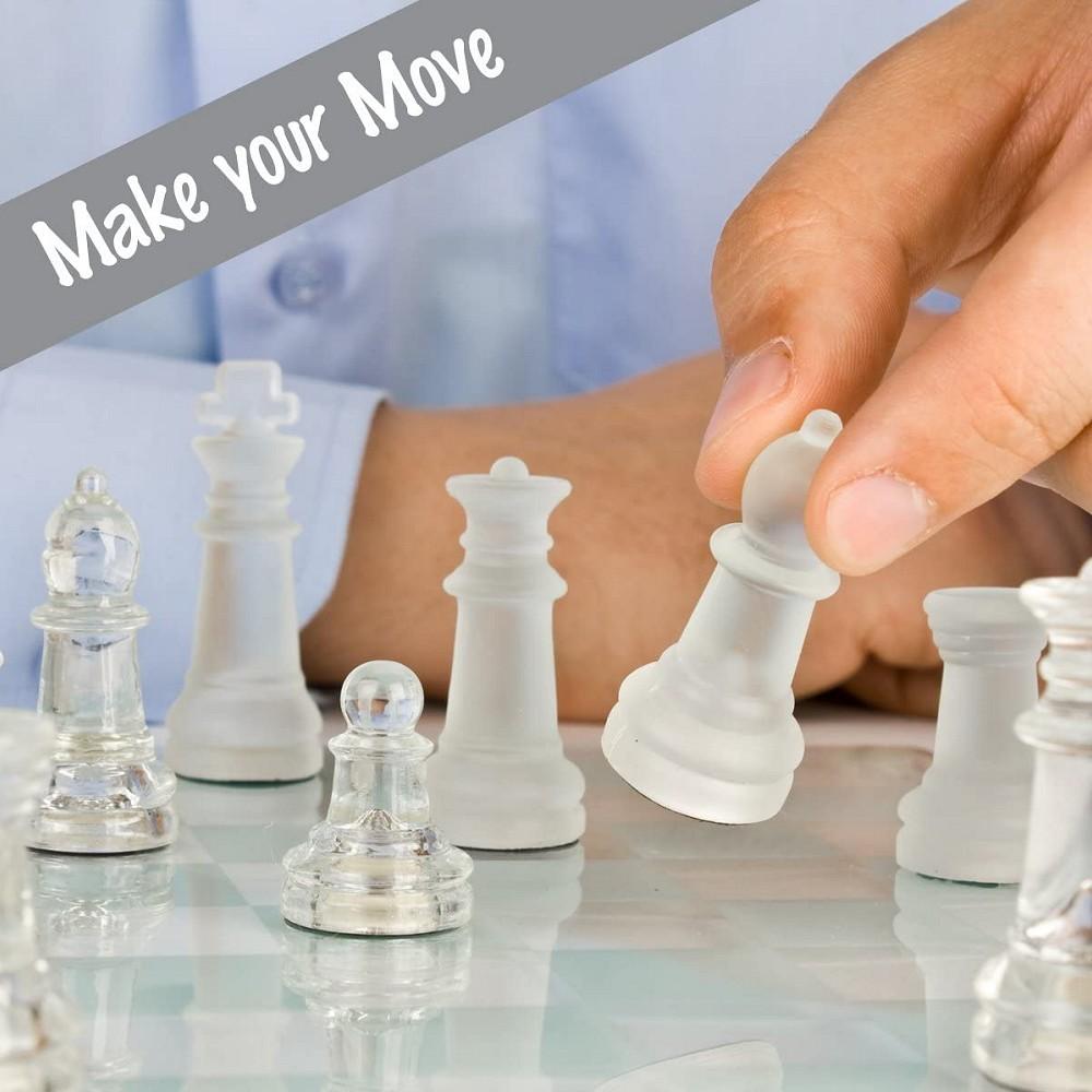 שחמט זכוכית גדול ודקורטיבי