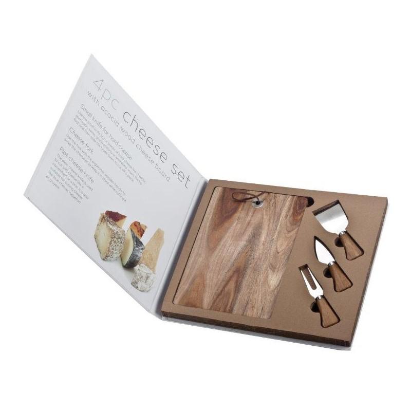סט לחיתוך והגשת גבינות: 3 סכינים + קרש מעץ במארז ספר