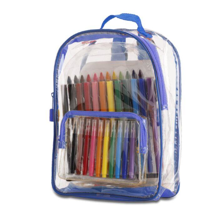 תיק גב שקוף לילדים עם ערכות צבעים - קליר קולור