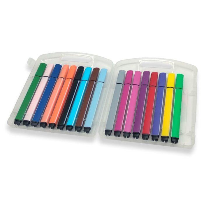 קלמר פלסטיק עם 18 טושים צבעוניים - קולורינג